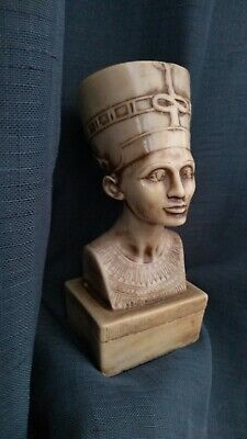 "PHARAONIC Ancient Egyptian  NEFERTITI statue Handcarved Stone 7.5"" tall Ivory"