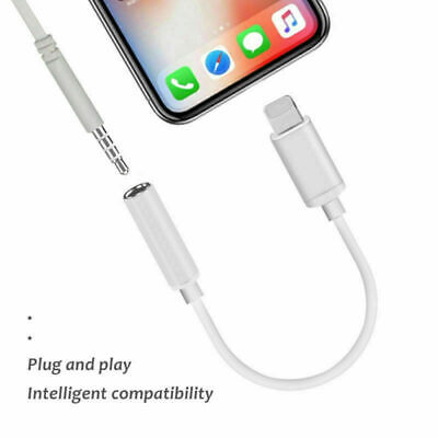 For iPhone X XS Max AUX Adapter Bluetooth Jack Audio Headphone Lighting to 3.5mm