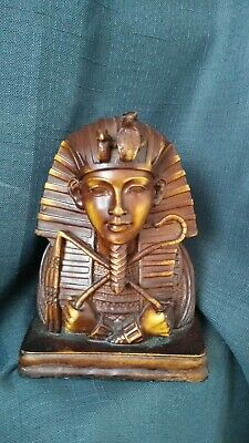 "PHARAONIC Ancient Egyptia statue TUTANKHAMUN Handcarved Stone 6"" tall Brown"