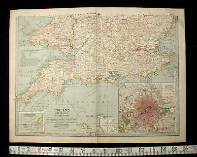 1902 Copyright Century Co. Map of England & Wales (S) Matthew Northrup Works