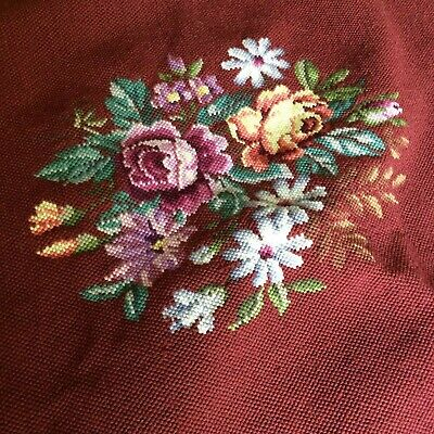Antique Vtg rose Needlepoint chair seat tapestry maroon  wool VICTORIAN complete