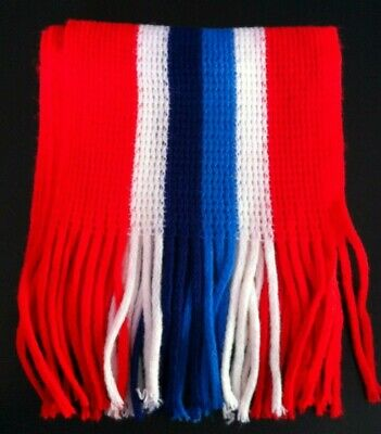 Vintage 1970s Red Navy White and Blue Stripe Scarf. Easy Care Acrylic. BNWTO.