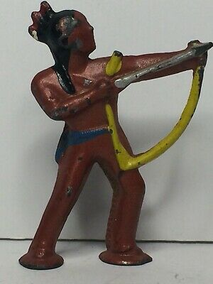 Antique Barclay Pod Foot Cast Iron Toy Indian Brave Shooting Bow & Arrow