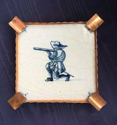 Antique Blue Delft Tile with Rifleman Shooting Musket Copper Ashtray Frame