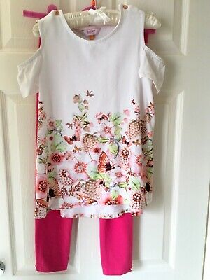 Ted Baker Girls Summer Set, White Peach Butterflies Top & Pink 3/4 Legging 11Yrs