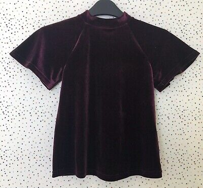 Next Girls Burgundy Velvet Velour Occasion Party Top Age 6 Yrs