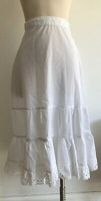 Vintage 1970's Women's White Tiered Skirt With Broderie Anglais Detail