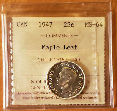 1947 CANADA 25c King George VI Quarter Coin ICCS MS-64 MAPLE LEAF