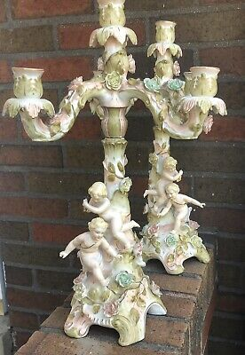 Pair of Early 20th Cen. Sitzendorf Style Marked Porcelain Putto Candelabras