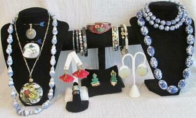 20 Pc Mostly Vtg Lot Asian/Asian Style Jewelry-Chinese Export-Jade?