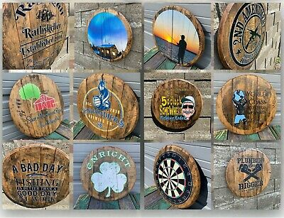 Personalized Authentic Whiskey Barrel Head YOUR DESIGN Wood Bar Signs Beer Signs