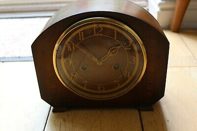 Vintage Smiths Enfield mantle clock with original key, wooden case version.