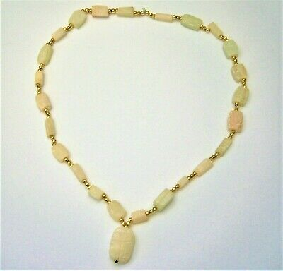 J159:) Vintage Egyptian white carved stone scarab beaded pendant necklace