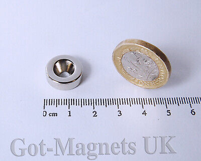 15x5 mm N45 Neodymium Disc Magnet Central Hole Countersunk 4mm Hole
