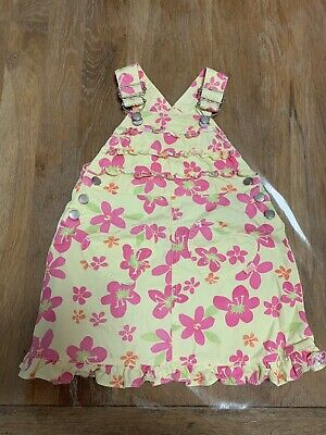 Pumpkin Patch Baby Girl Overalls Dress Yellow With Pink Flowers VINTAGE Size 2