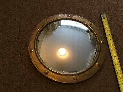 Vintage Brass Round Porthole Nautical Convex Bulls Eye Mirror 1930'S Art Deco