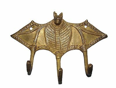 "A unique & attractive BAT Shape COAT HOOK Brass made Hanger from India ""RARE"""