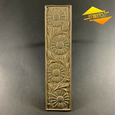 c.1900 REGD 186058 PRESSED BRASS FLORAL DOOR PUSH PANEL ORNATE DECORATION