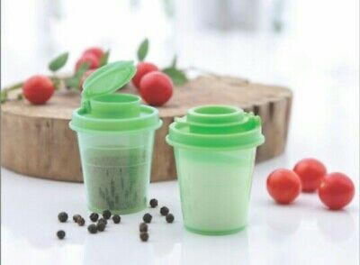 Tupperware Salt and Pepper Shakers -60ml each set of 2-Green Color