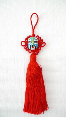 1 RED CHINESE KNOT TASSEL With Hand Painted Opera Mask Home Car Decor