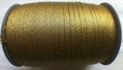 Antik: 10m uraltes Metall Brokat Band Litze Gold B/3-4mm Echtes Brokat  1920