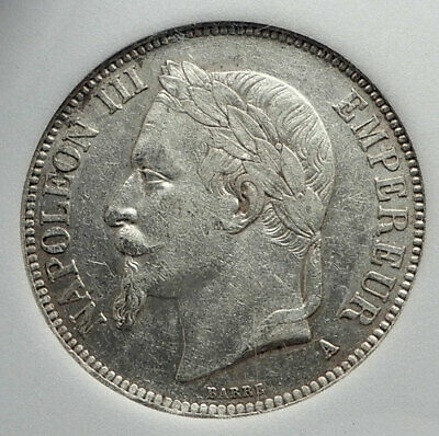 1669 FRANCE Napoleon III Antique LARGE Silver 5 Francs FRENCH COIN  i80141