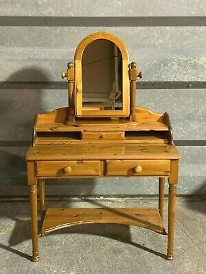 Fabulous solid pine dressing table desk with gallery shelf and cheval mirror