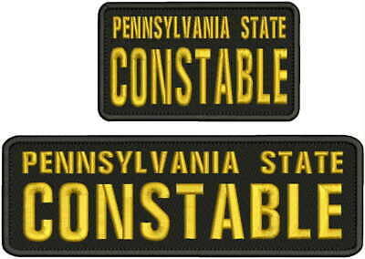 PA  state constable embroidery patches 3X9 and 3x5  hook on back BLACK//gold