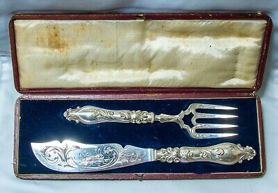 Antique Victorian Cased Fish Service~Beautiful Fish Set!