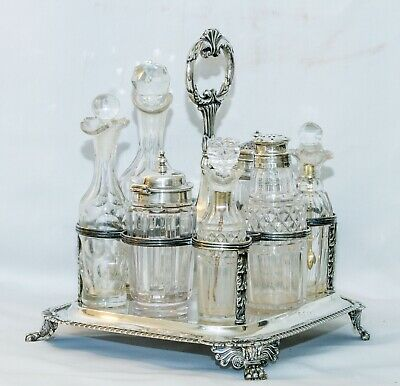 Antique Georgian Sterling Silver Cruet Set  Joseph Angell I London 1826