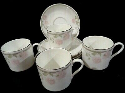 Coffee Set Cups Saucers Royal Doulton Vintage Bone China Twilight Rose H5096