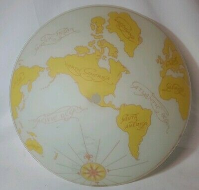 Vintage Glass Ceiling Lamp Shade World Globe Map Light Fixture Cover Earth Dome