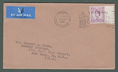 1964 GB to USA 'second class' airmail cover (S10b)
