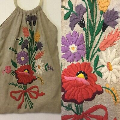 Vintage Heavily Embroidered Bag From Hungary Floral Multi Colour