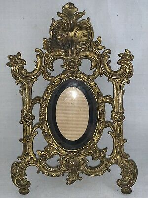 Vintage Cast Metal Gold Rococo Victorian Style Standing Picture FrameStands