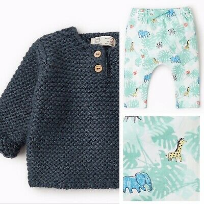 New Zara Mini Baby Boy Navy Blue Knit Sweater Jungle Joggers Pants 1-3m Outfit