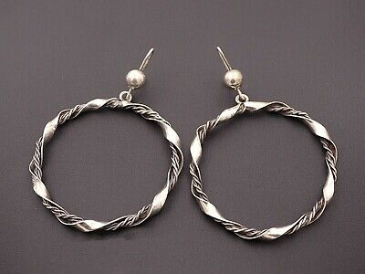 "Vintage Sterling Silver Artist Signed Taxco Mexico Handmade Earrings 1.7"" - 925"
