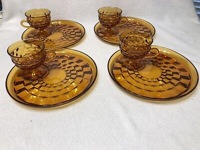 SET OF 8 Vintage Indiana Cubist Whitehall AMBER Snack/Luncheon Plates and Cups
