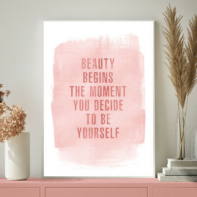 Beauty Begins Inspirational Quote Blush Pink Art Print Poster Home Decor A4 - A1