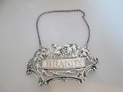 Vintage BRANDY Liqueur Decanter Label Grape Design Sterling Silver by Gorham