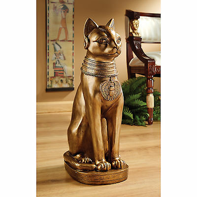 "Design Toscano Exclusive 21"" Hand Painted ©Golden Bastet Of Ancient Egypt Statue"