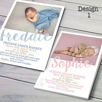 Baby Thank You Cards - Personalised Photo Birth Announcement Girl / Boy