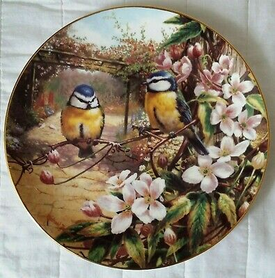 Wedgwood Old English Gardens Bone China Plate Blue Tits & Clematis Boxed