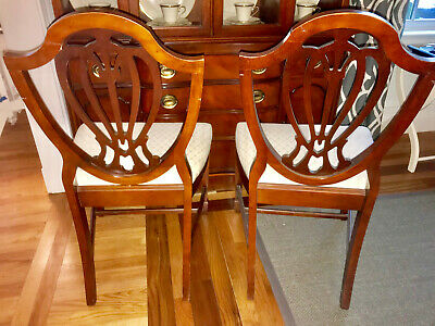 SIX (6) 60's Antique Vintage Cherry Duncan Phyfe Shield Back Dining Side Chairs