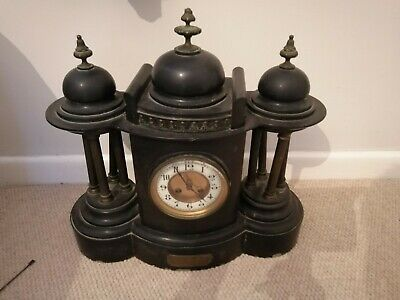 Antique Black Marble Slate Mantel Clock 1907 with presentation plaque