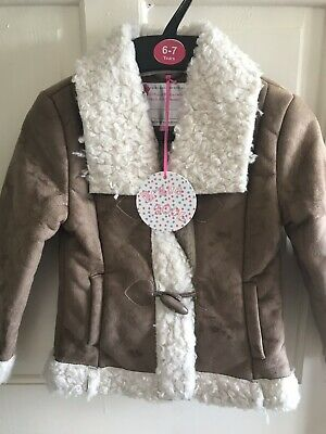 BNWT Brave Soul Faux Sheep Skin Duffle Coat. Girls. Age 4 - 7 Years. Camel