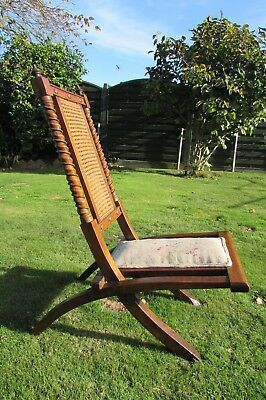 Antique chair, rare Walnut folding /campaign ornate turned spiral pillars