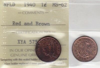 1940 ICCS MS62 1 cent Red and Brown Newfoundland NFLD NF one penny