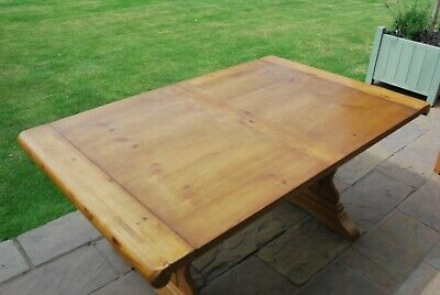 """Antique Vintage Waxed Pine Table Max Length 7'6"""", Min Length 5'6"""""""