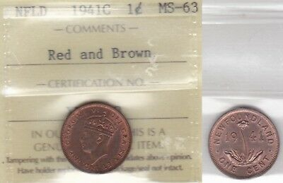 1941C ICCS MS63 1 cent Red and Brown Newfoundland NFLD NF one penny